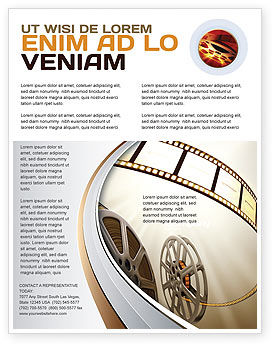 Film Reel In Light Brown Color Flyer Template, 06599, Art & Entertainment — PoweredTemplate.com