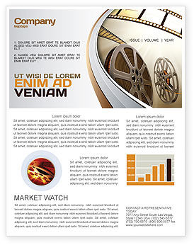 Film Reel In Light Brown Color Newsletter Template, 06599, Art & Entertainment — PoweredTemplate.com