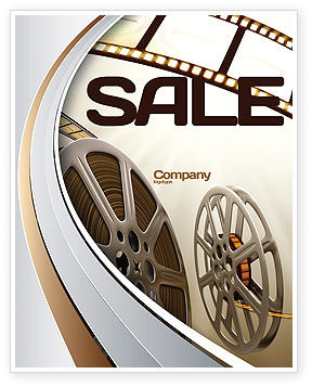 Art & Entertainment: Film Reel In Light Brown Color Sale Poster Template #06599