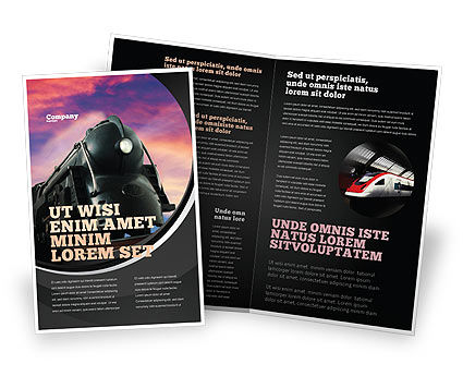 Steam Locomotive Brochure Template, 06610, Cars/Transportation — PoweredTemplate.com