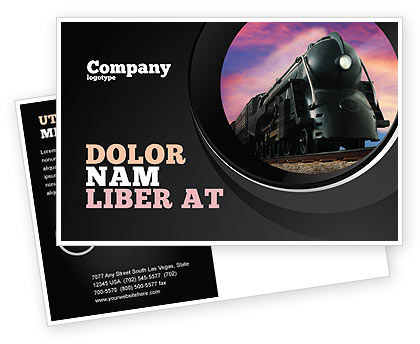 Cars/Transportation: Steam Locomotive Postcard Template #06610