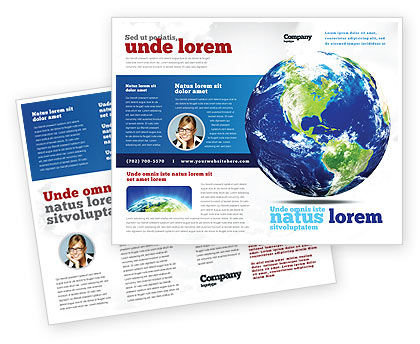 World Globe Brochure Template, 06636, Global — PoweredTemplate.com