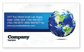 Global: World Globe Business Card Template #06636