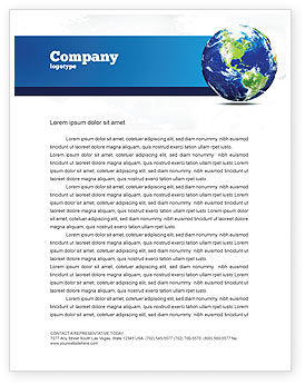 Global: World Globe Letterhead Template #06636