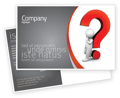 Question Mark Postcard Template, 06651, Consulting — PoweredTemplate.com
