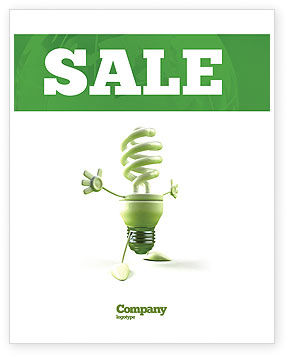 Nature & Environment: Energy Save Lamp Sale Poster Template #06657