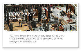Construction: Big Building Site Business Card Template #06675