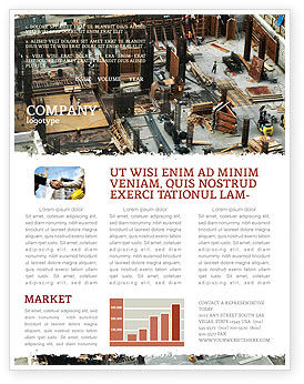 Construction: Big Building Site Newsletter Template #06675