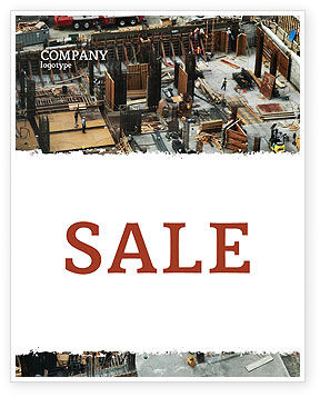 Construction: Big Building Site Sale Poster Template #06675