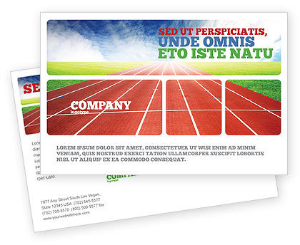 Sports: Race Track Postcard Template #06677