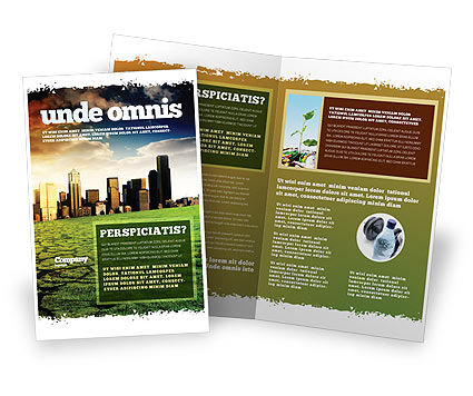 Bad Ecology City Brochure Template, 06687, Nature & Environment — PoweredTemplate.com