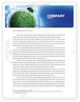 Nature & Environment: Green Planet In the Space Letterhead Template #06693