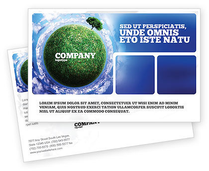 Green Planet In the Space Postcard Template, 06693, Nature & Environment — PoweredTemplate.com