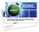 Nature & Environment: Green Planet In the Space Postcard Template #06693