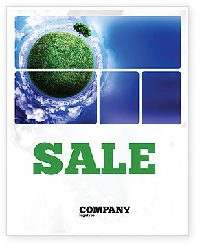 Green Planet In the Space Sale Poster Template, 06693, Nature & Environment — PoweredTemplate.com