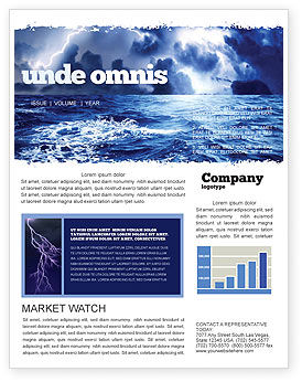 Royal Blue Sea Newsletter Template, 06725, Nature & Environment — PoweredTemplate.com