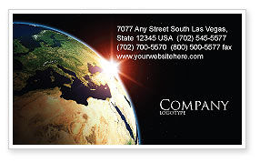 Global: Sunrise in Space Business Card Template #06729