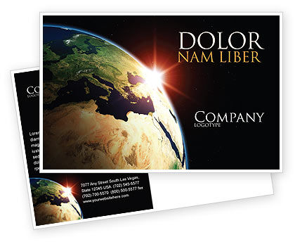 Global: Sunrise in Space Postcard Template #06729