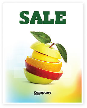 Cut Apple Sale Poster Template, 06731, Food & Beverage — PoweredTemplate.com
