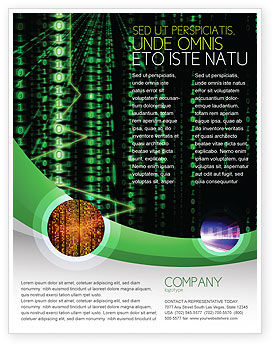 Telecommunication: Matrix Code Stream Flyer Template #06754