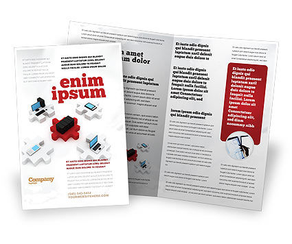 Technology, Science & Computers: Central Computer Server Brochure Template #06779