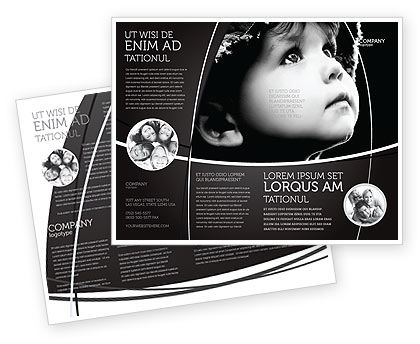 People: Child In Black And White Brochure Template #06817