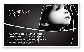 People: Child In Black And White Business Card Template #06817