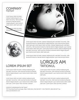 Child In Black And White Flyer Template, 06817, People — PoweredTemplate.com