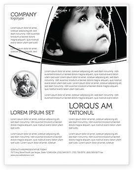 People: Kind in schwarz und weiß Flyer Vorlage #06817