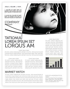Child In Black And White Newsletter Template For Microsoft Word - Black and white flyer template free