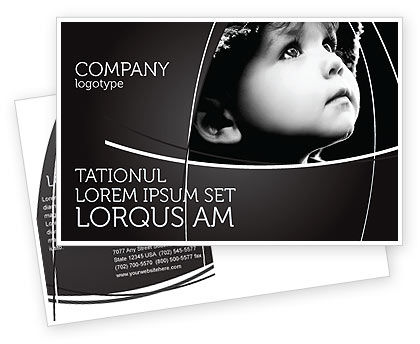 People: Child In Black And White Postcard Template #06817
