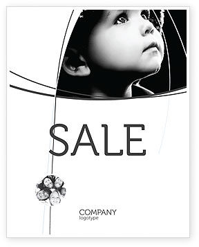 People: Child In Black And White Sale Poster Template #06817