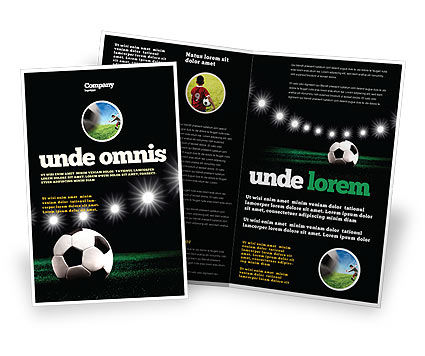 Football Stadium In The Night Brochure Template, 06916, Sports — PoweredTemplate.com