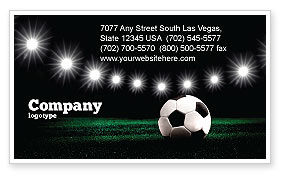Sports: Football Stadium In The Night Business Card Template #06916