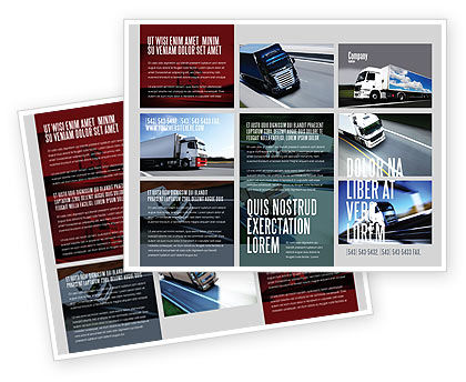 Trailer Trucks Brochure Template, 06923, Cars/Transportation — PoweredTemplate.com