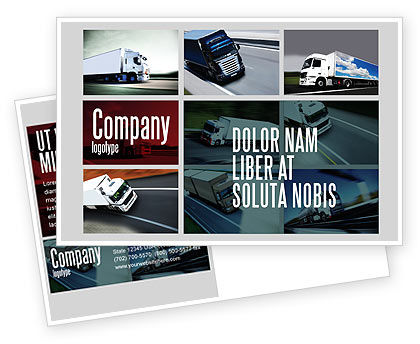Cars/Transportation: Trailer Trucks Postcard Template #06923