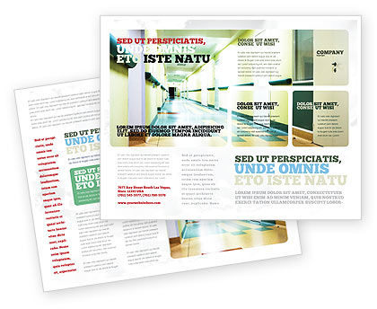 Hospital Hallway Brochure Template, 06928, Medical — PoweredTemplate.com
