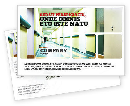 Medical: Hospital Hallway Postcard Template #06928