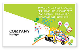School Bus As Childish Picture Business Card Template, 06932, Education & Training — PoweredTemplate.com