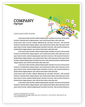 School Bus As Childish Picture Letterhead Template, 06932, Education & Training — PoweredTemplate.com