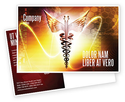 Caduceus Postcard Template, 06948, Medical — PoweredTemplate.com
