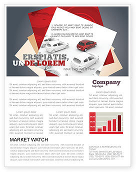 Cars/Transportation: Red Car Newsletter Template #06951