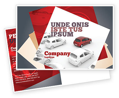 Cars/Transportation: Red Car Postcard Template #06951