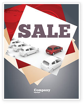 Cars/Transportation: Red Car Sale Poster Template #06951