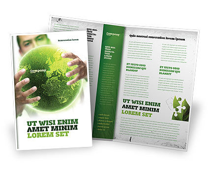 Green World in Human Hands Brochure Template, 06955, Nature & Environment — PoweredTemplate.com