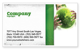 Nature & Environment: Green World in Human Hands Business Card Template #06955