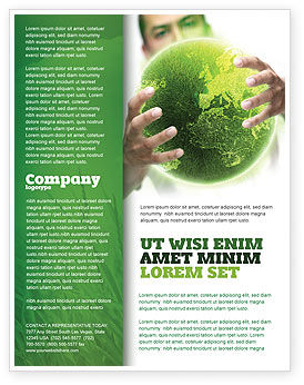 Nature & Environment: Green World in Human Hands Flyer Template #06955