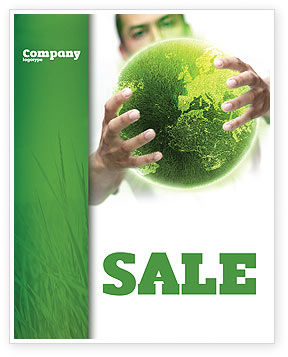 Green World in Human Hands Sale Poster Template, 06955, Nature & Environment — PoweredTemplate.com