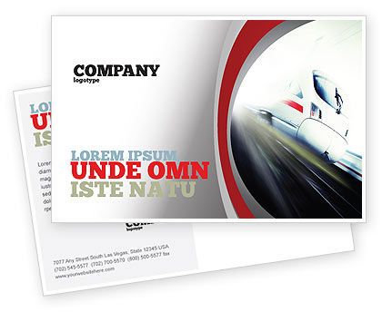 High-Speed Train Postcard Template, 06963, Cars/Transportation — PoweredTemplate.com