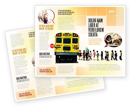 School Bus Stop Brochure Template, 06967, Education & Training — PoweredTemplate.com